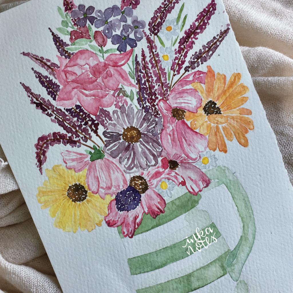 Flower-Calligraphy_Supplies_inkanotes_Watercolour_Calligraphy_Artist-Custom_Watercolour_Painting_Monogram_Florals-Wedding_keepsake_gift_bouquet