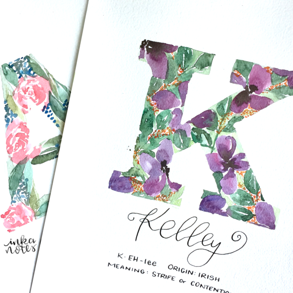 Calligraphy_Supplies_inkanotes_Watercolour_Calligraphy_Artist-Custom_Watercolour_Painting_Monogram_Florals