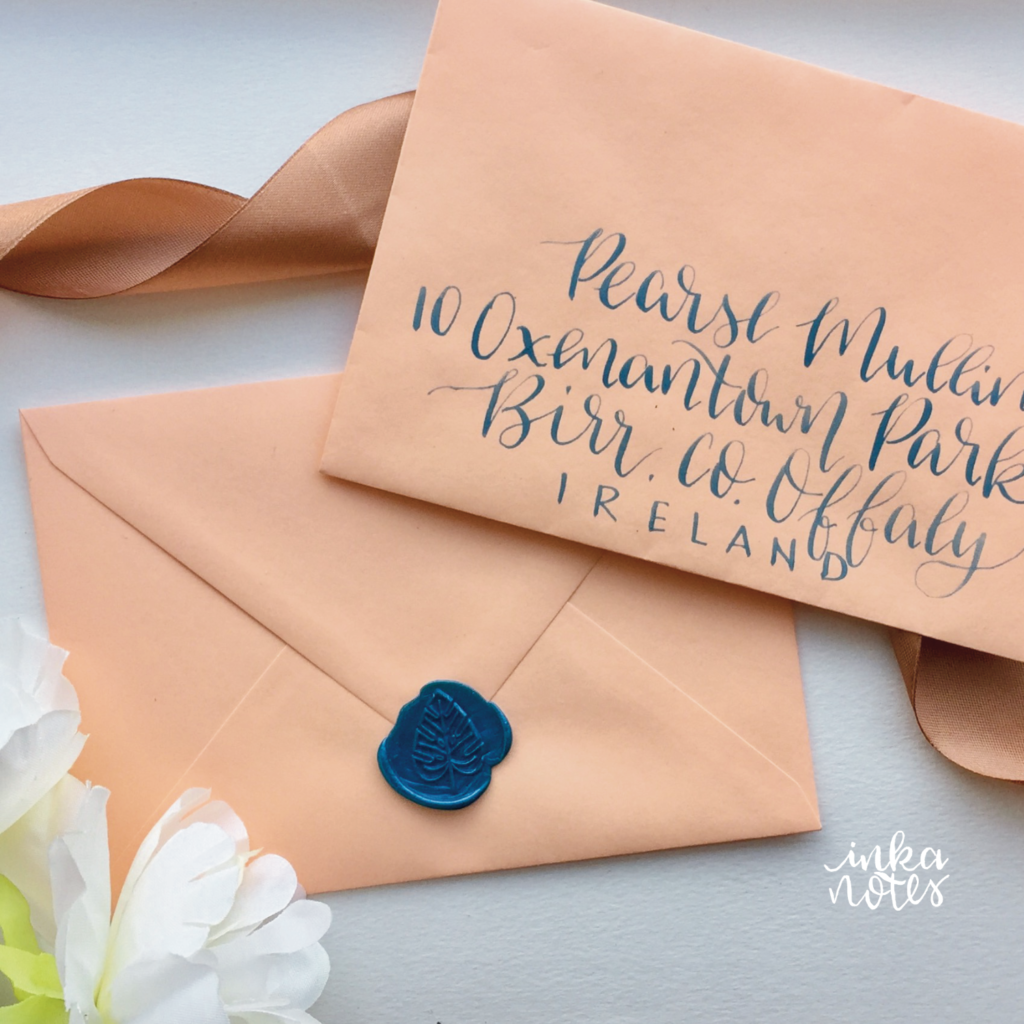 Calligraphy_Supplies_inkanotes_Watercolour_Calligraphy_Artist-coral-tropical envelope calligraphy modern calligraphy blue ink