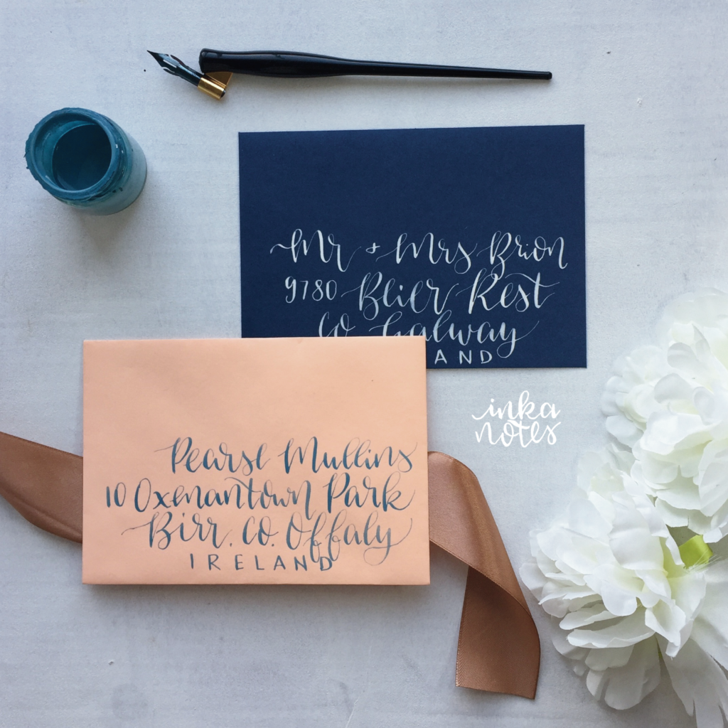 Calligraphy_Supplies_inkanotes_Watercolour_Calligraphy_Artist-coral-tropical envelope calligraphy modern calligraphy blue ink porfolio calligraphy envelopes