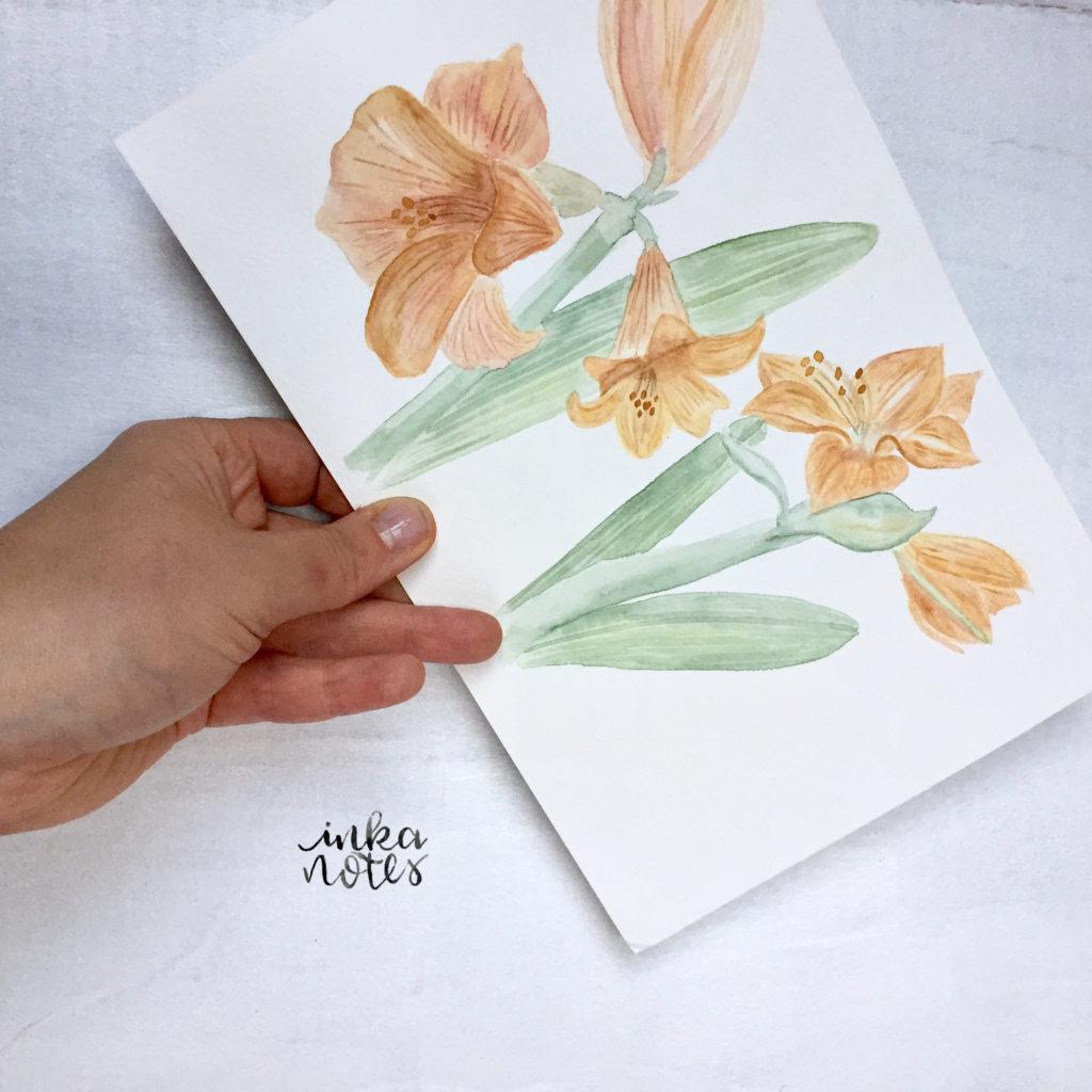 Flower-Calligraphy_Supplies_inkanotes_Watercolour_Calligraphy_Artist-Custom_Watercolour_Painting_Monogram_Florals-Wedding_keepsake_gift_bouquet-amaryllis