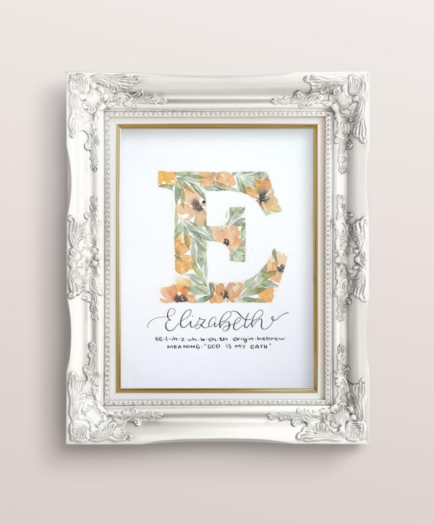 inkanotes Calligraphy Kalligraphie Watercolor Aquarell Florals Botanicals Blumen Botanische Designer Deutschland Germany Nachhaltig monogram - buchstaben e