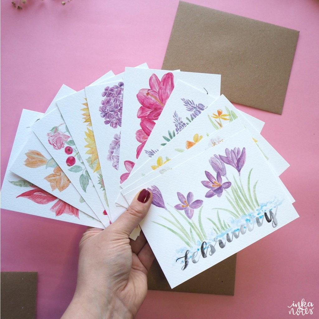 Bundle -Monatskarten- Seasonal Cards - Flower Cards - Blumen Karten-Weihnachts-Karten-Artist-Illustrator-Illustrator-Designer-Kalligrafie-Calligraphy-Aquarell-Watercolour-Artist-inkanotes Jahreskarten Jahrestisch Flowers Florals