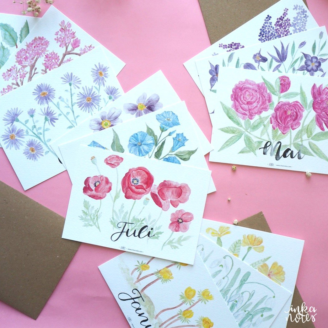 SQUARE-MAIN -Monatskarten- Seasonal Cards - Flower Cards - Blumen Karten-Artist-Illustrator-Illustrator-Designer-Kalligrafie-Calligraphy-Aquarell-Watercolour-Artist-inkanotes 06