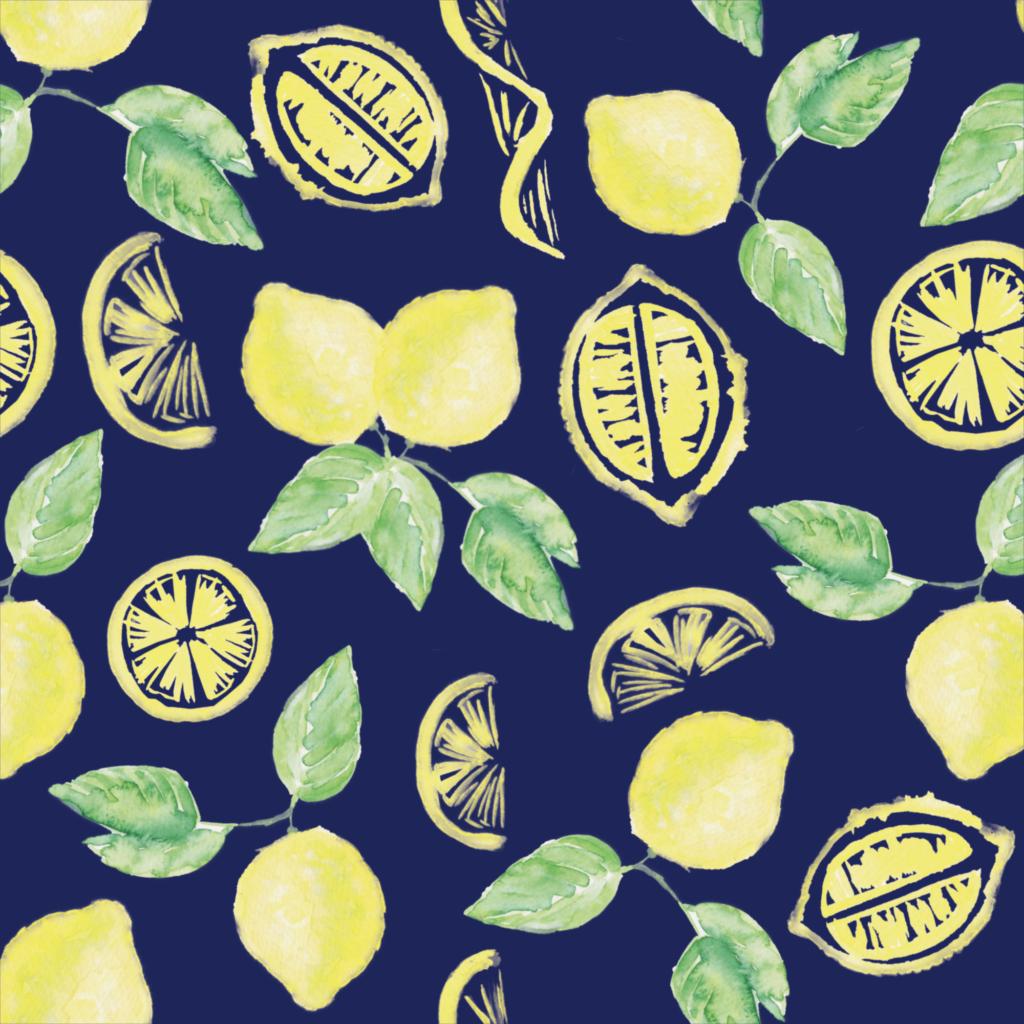 inkanotes Kalligraphie Aquarell Calligraphy Watercolor Licensing Designer Designs Lemon Pattern Zitronen Muster