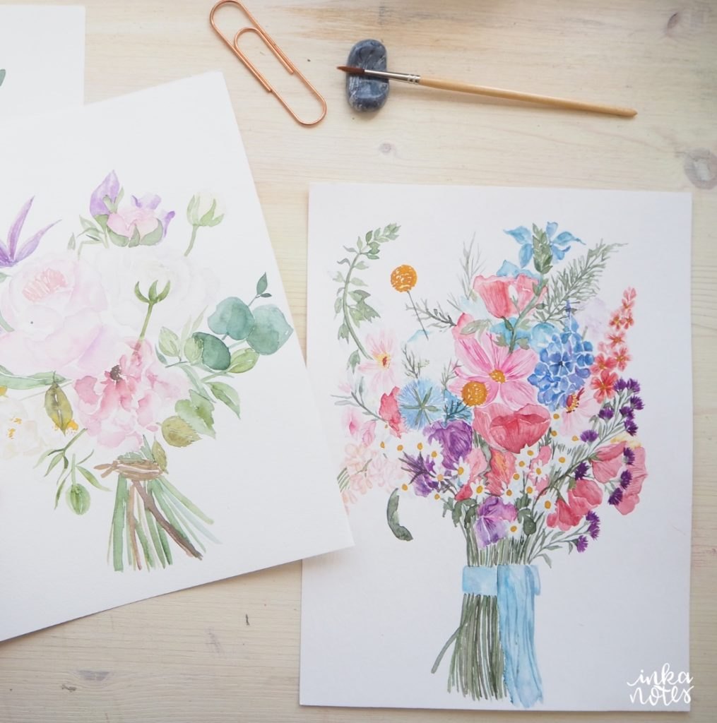 hochzeitsstrauss brautstrauss hochzeit Hochzeits papeterie hochzeit einladungen inkanotes Calligraphy Kalligraphie Watercolor Aquarell Blumen Deutschland Germany