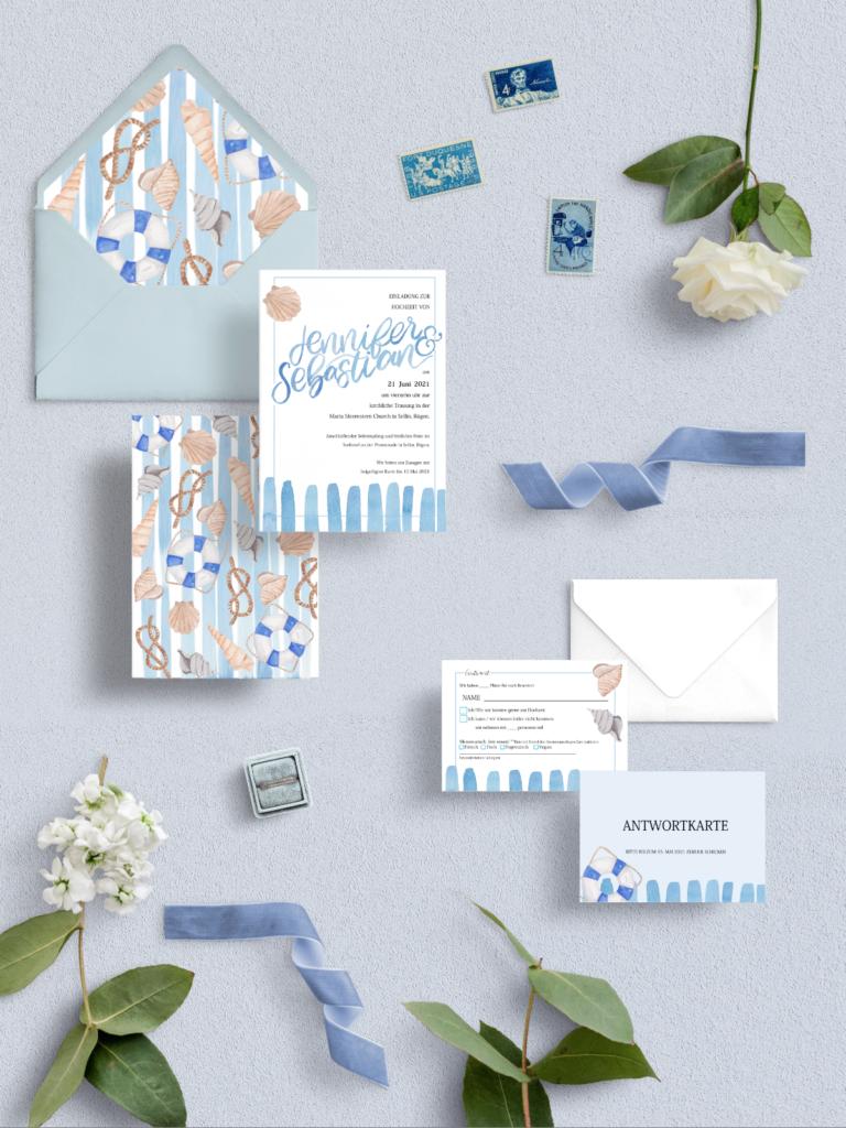 Meer Muscheln Hochzeits Papeterie Natutical Wedding Invitation Papeterie Inkanotes Kalligraphie Aquarell