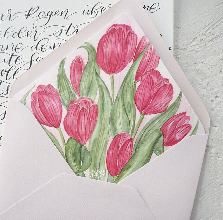Envelope Liner Personalisierte Umschlag Hochzeits Papeterie Natutical Wedding Invitation Papeterie Inkanotes Kalligraphie Aquarell