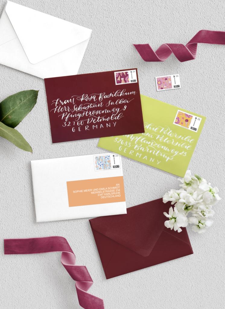 Umschlag Adressierung- Hochzeits Papeterie Hochzeits Einladung Wedding Invitation Papeterie Inkanotes Kalligraphie Aquarell