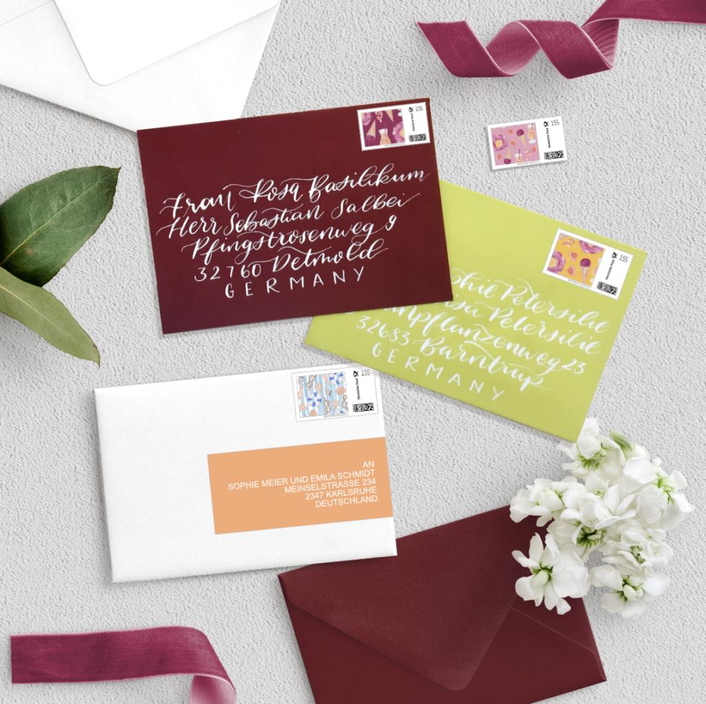 Design Ablauf Angebot Umschlag Adressierung-Square- Hochzeits Papeterie Hochzeits Einladung Wedding Invitation Papeterie Inkanotes Kalligraphie Aquarell