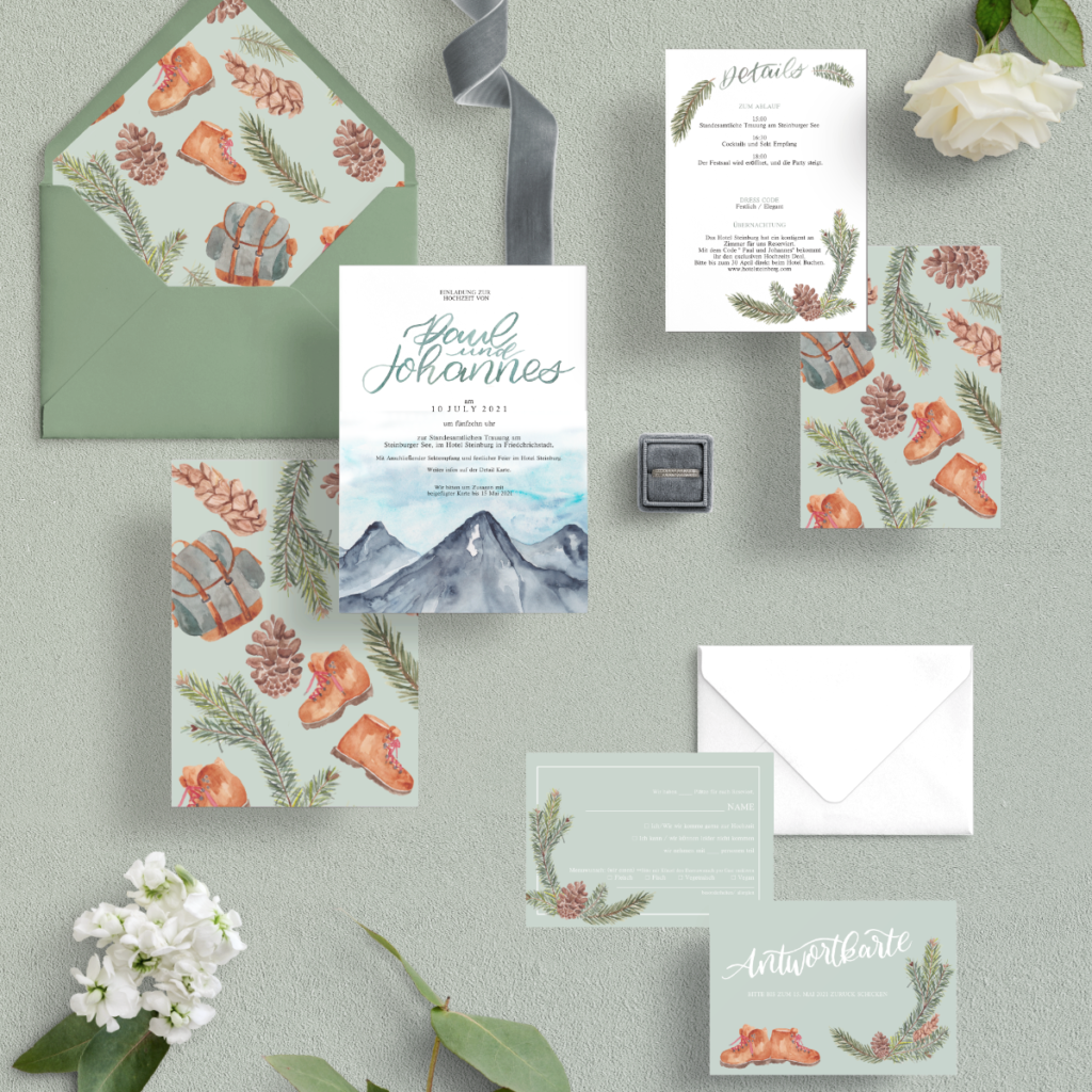 Mountain Berge Wanderen Hochzeits Papeterie Natutical Wedding Invitation Papeterie Inkanotes Kalligraphie Aquarell