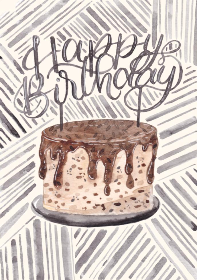 inkanotes Kalligraphie Aquarell Calligraphy Watercolor Licensing Designer Designs Chocolate Cake Schokoladen Kuchen