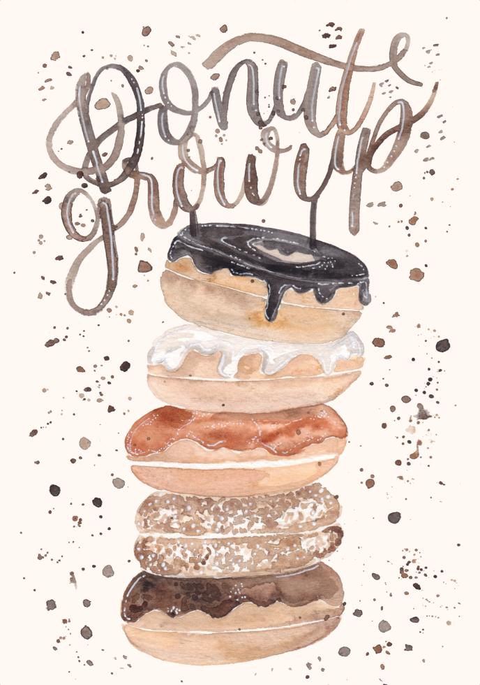 inkanotes Kalligraphie Aquarell Calligraphy Watercolor Licensing Designer Designs Donut Doughnut Dnut grow up Birthday Card Geburtstagskarte