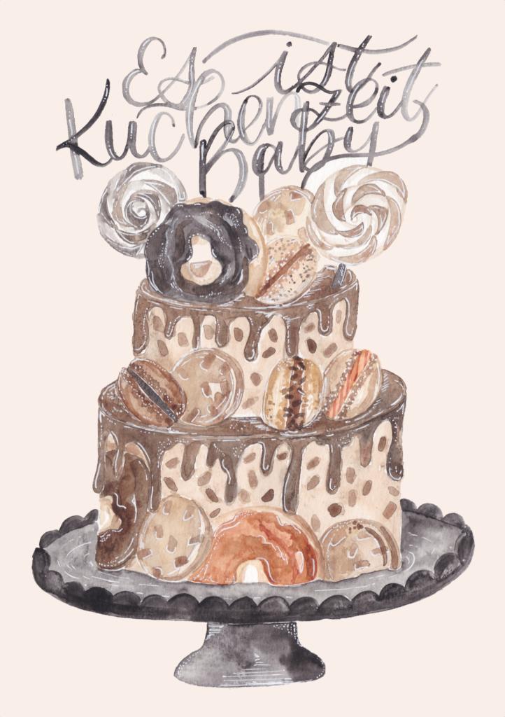 inkanotes Kalligraphie Aquarell Calligraphy Watercolor Licensing Designer Designs Cupcake Black and White Du Geburtstags Kuchen Es ist Kuchenzeit Baby