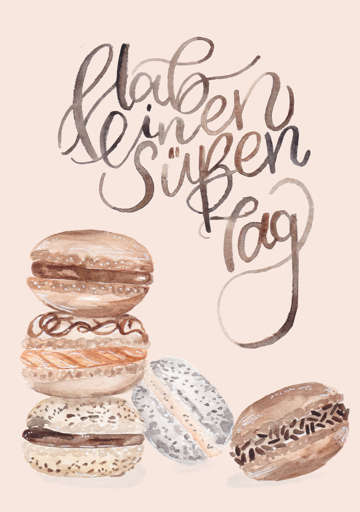 inkanotes Kalligraphie Aquarell Calligraphy Watercolor Licensing Designer Designs Macarons Hab einen Süßen Tag