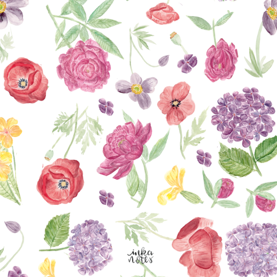Blumen Flower Pattern - Pink - inkanotes Kalligraphie Aquarell Calligraphy Watercolor Licensing Designer Designs