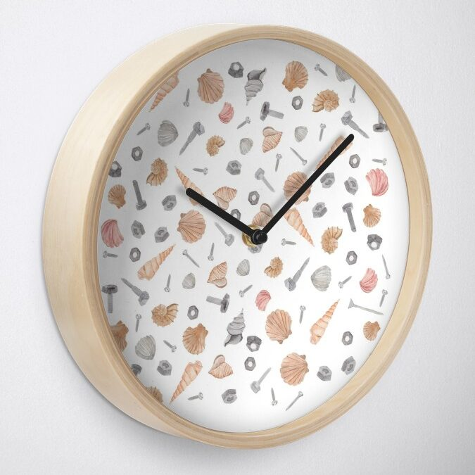 Muschel Nagel Schrauben Muster Shell Nail Pattern Clock - Pink - inkanotes Kalligraphie Aquarell Calligraphy Watercolor Licensing Designer Designs.jpg