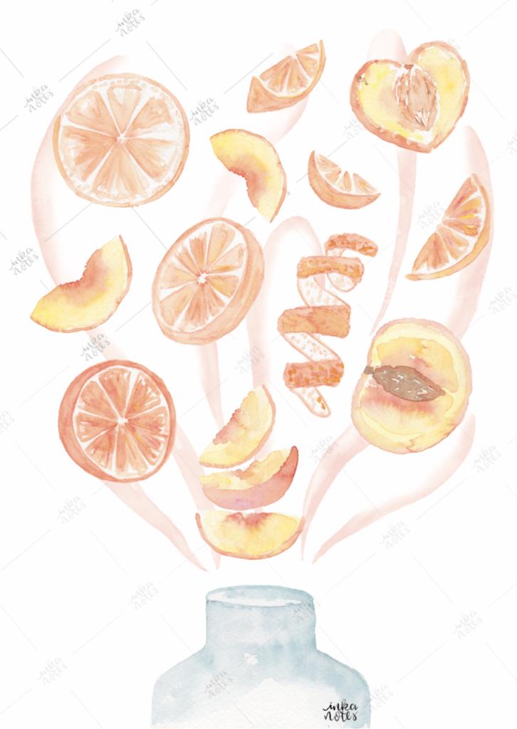 Orange Peach Smoothie Orangen Pfirsch Muster inkanotes Kalligraphie Aquarell Calligraphy Watercolor Licensing Designer Designs