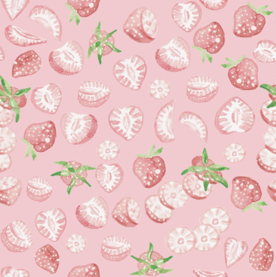 Strawberry Erdbeer Pattern- Pink - inkanotes Kalligraphie Aquarell Calligraphy Watercolor Licensing Designer Designs