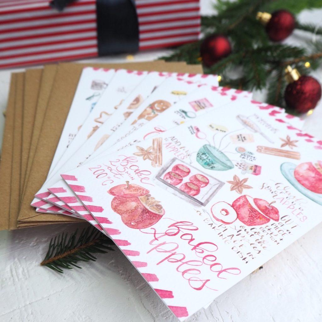 Christmas Cookie Cards Weihnachts Plätzchen Karten - inkanotes Kalligraphie Aquarell Calligraphy Watercolor Licensing Designer Designs